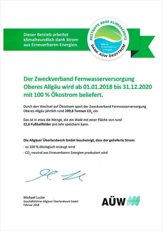 FWOA-Zertifikat-Ökostrom
